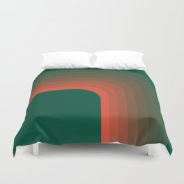 Emerald and Coral Curve Duvet Cover