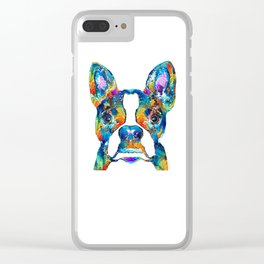 Colorful Boston Terrier Dog Pop Art - Sharon Cummings Clear iPhone Case