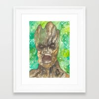 groot Framed Art Prints featuring Groot by Makenna Raye