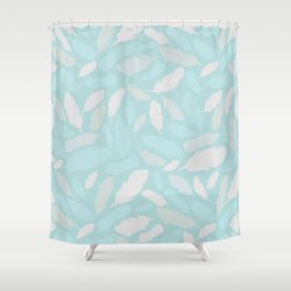 Feather Pattern Mint Shower Curtain