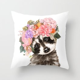 Baby Raccoon with Flowers Crown Throw Pillow
