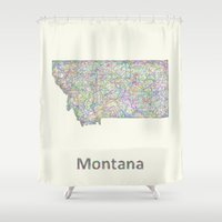 montana Shower Curtains featuring Montana map by David Zydd