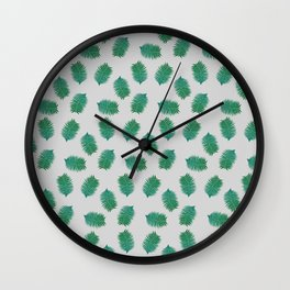 Turquoise leaves nature pattern Wall Clock