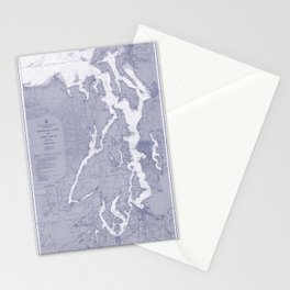 Puget Sound Washington State Nautical Chart Map Print 1956 Blue, Map Art Prints Stationery Cards
