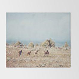 Oregon Wilderness Horses Throw Blanket