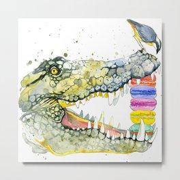 Crocodile and cake, T-shirt graphics. Crocodile and cake, illustration with splash watercolor  Metal Print