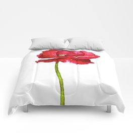 Ink Poppy Painting (Original Artwork) Comforters