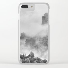 """The mountains are calling to me"". BW. Square Clear iPhone Case"