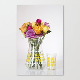 Brightly Coloured Roses in 60's Glass Jug Canvas Print
