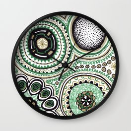 Green and Gold Rings Wall Clock