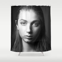 laura palmer Shower Curtains featuring Laura by emmacanfield