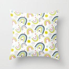 Rainy Rainbows Modern Pattern Throw Pillow