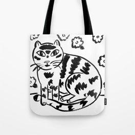 Wallflower Cat Tote Bag