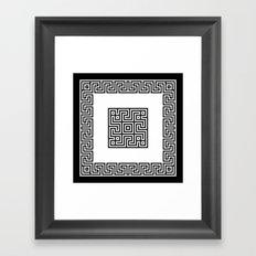 Greek Key black Framed Art Print