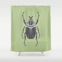 beetle Shower Curtains featuring Beetle by Aaron Keshen