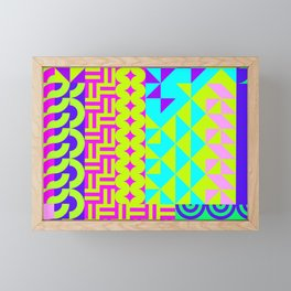 Abstract geometrical neon colors eclectic pattern Framed Mini Art Print