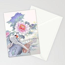 Kono Bairei - Couple Of Pheasants And Peony Flowers - Vintage Japanese Woodblock Print Art  Stationery Cards