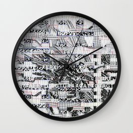 Surrender Your Information (P/D3 Glitch Collage Studies) Wall Clock