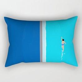 The Lone Swimmer | Aerial Rectangular Pillow