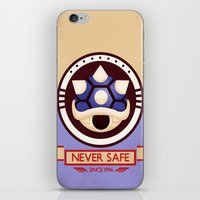 mario kart iPhone & iPod Skins featuring Never Safe - Mario Kart by TomStreetArt