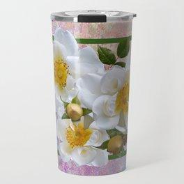 White Flowers with Inset Travel Mug