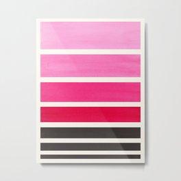 Magenta Minimalist Mid Century Staggered Stripes Rothko Color Block Geometric Art Metal Print