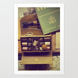 Vintage sewing box | Old army objects Art Print