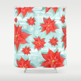 Red poinsettia #1 Shower Curtain