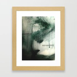 Last Kiss: a minimal, abstract watercolor piece in greens Framed Art Print