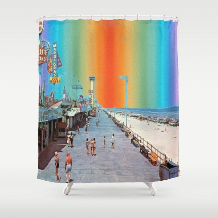 Boardwalk Rainbow Shower Curtain