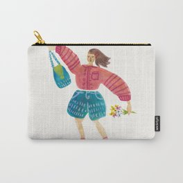 Sunday Shopping Girl (cream) Carry-All Pouch