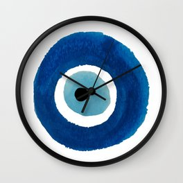 Evil Eye (Nazar) Watercolor Painting – Dark Blue and Light Blue Wall Clock