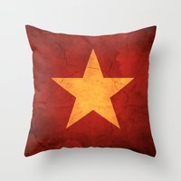 vietnam Throw Pillows featuring Vietnam Flag by anhnt32