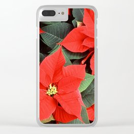 Beautiful Red Poinsettia Christmas Flowers Clear iPhone Case