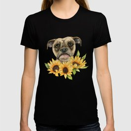 Cheerful | Bulldog Mix with Sunflowers Watercolor Painting T-shirt