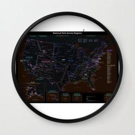National Park Service Region Map Dark Neon Wall Clock