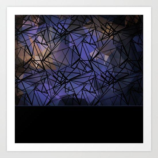 Polygon mesh . Blue . Art Print