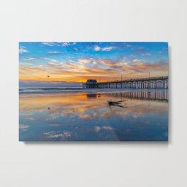 Sunset Seagull at Newport Pier Metal Print