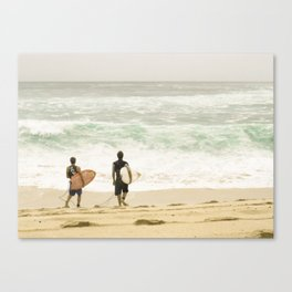 Surfers on Hawaii's North Shore Canvas Print