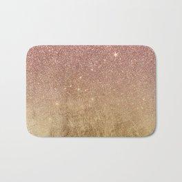 Pink Rose Gold Glitter and Gold Foil Mesh Bath Mat