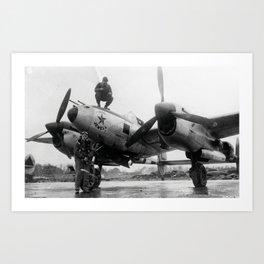 370th Fighter Group P 38 Texas Jewell II Art Print