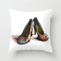 heels Throw Pillows featuring Japanesque Heels by hivernoir