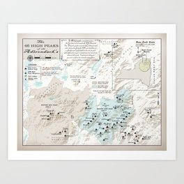 NYS Adirondack 46er Atlas Inspired area map Art Print