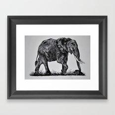 Pen & Ink Elephant Framed Art Print