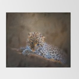 Cute painting amur leopard cub Throw Blanket