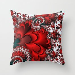 Red Sweetheart Fractal Throw Pillow