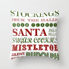 Subway Style Christmas Words 2 Throw Pillow