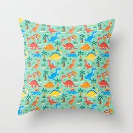 Dinos Green Throw Pillow