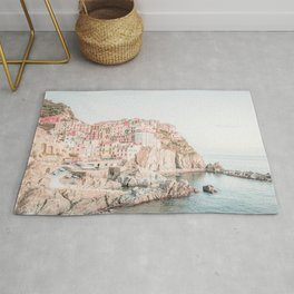 Positano, Italy Amalfi coast pink-peach-white travel photography in hd Rug