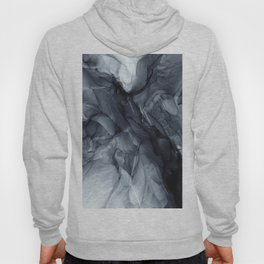 Gray Black Gradient Dramatic Flowing Abstract Painting Hoody